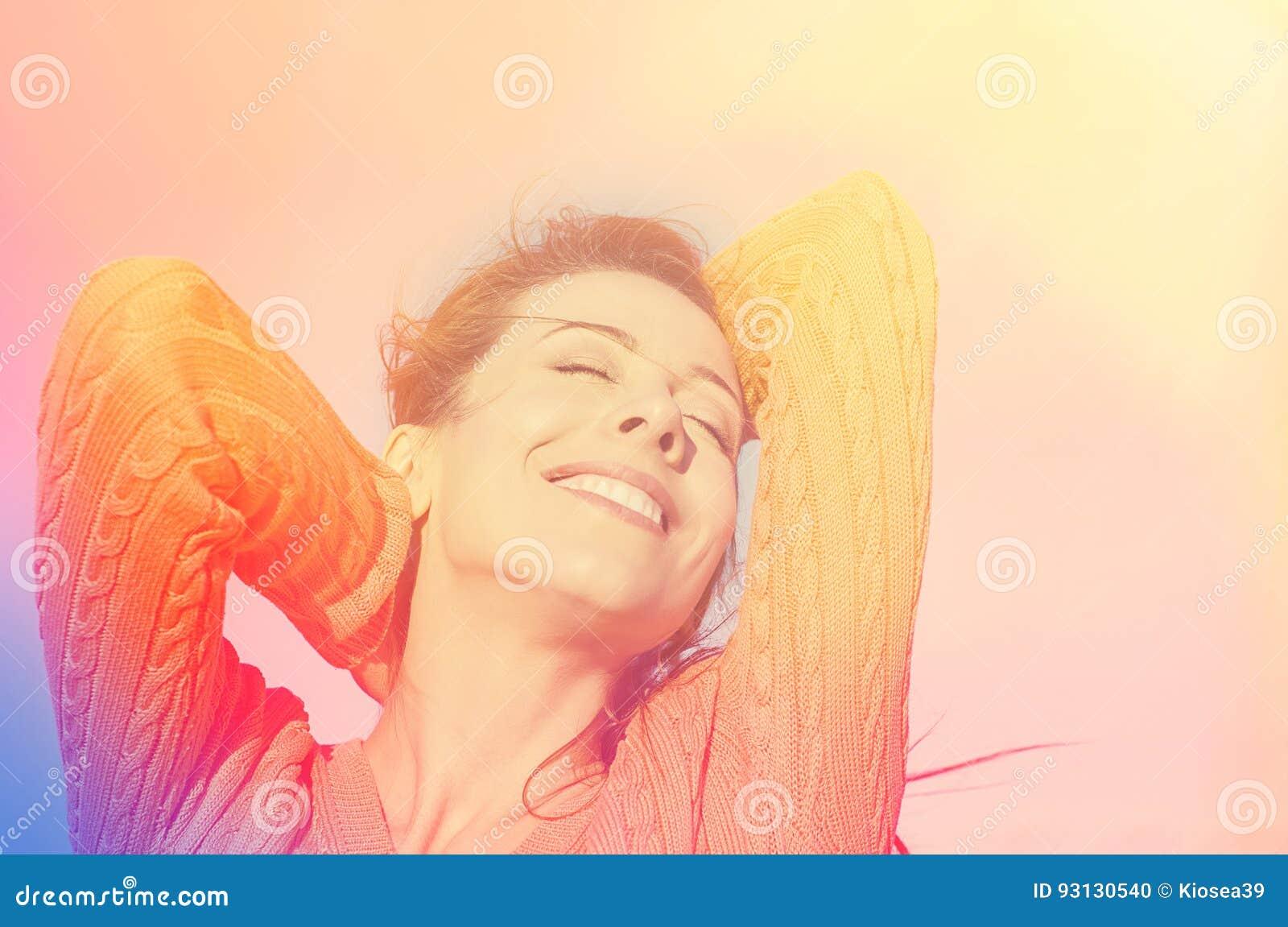 Portrait of a beautiful sunshine girl.