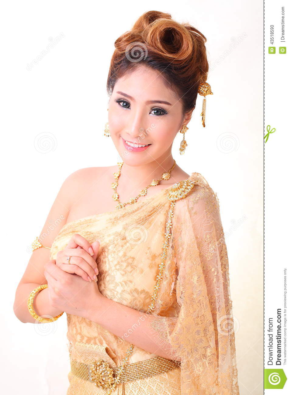 Portrait Beautiful Thai Woman In Vintage Thai Traditional ...