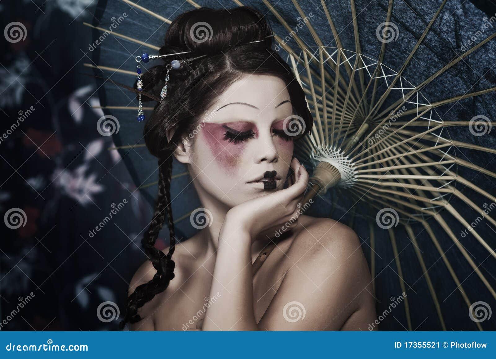 A beautiful geisha with a bbc mh 5