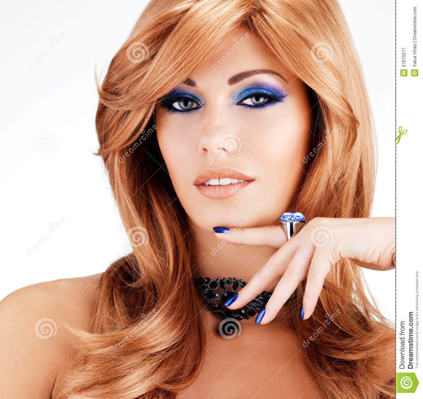 Portrait Of A Beautiful Woman With Blue Nails Blue Makeup Stock Image - Image 37870277
