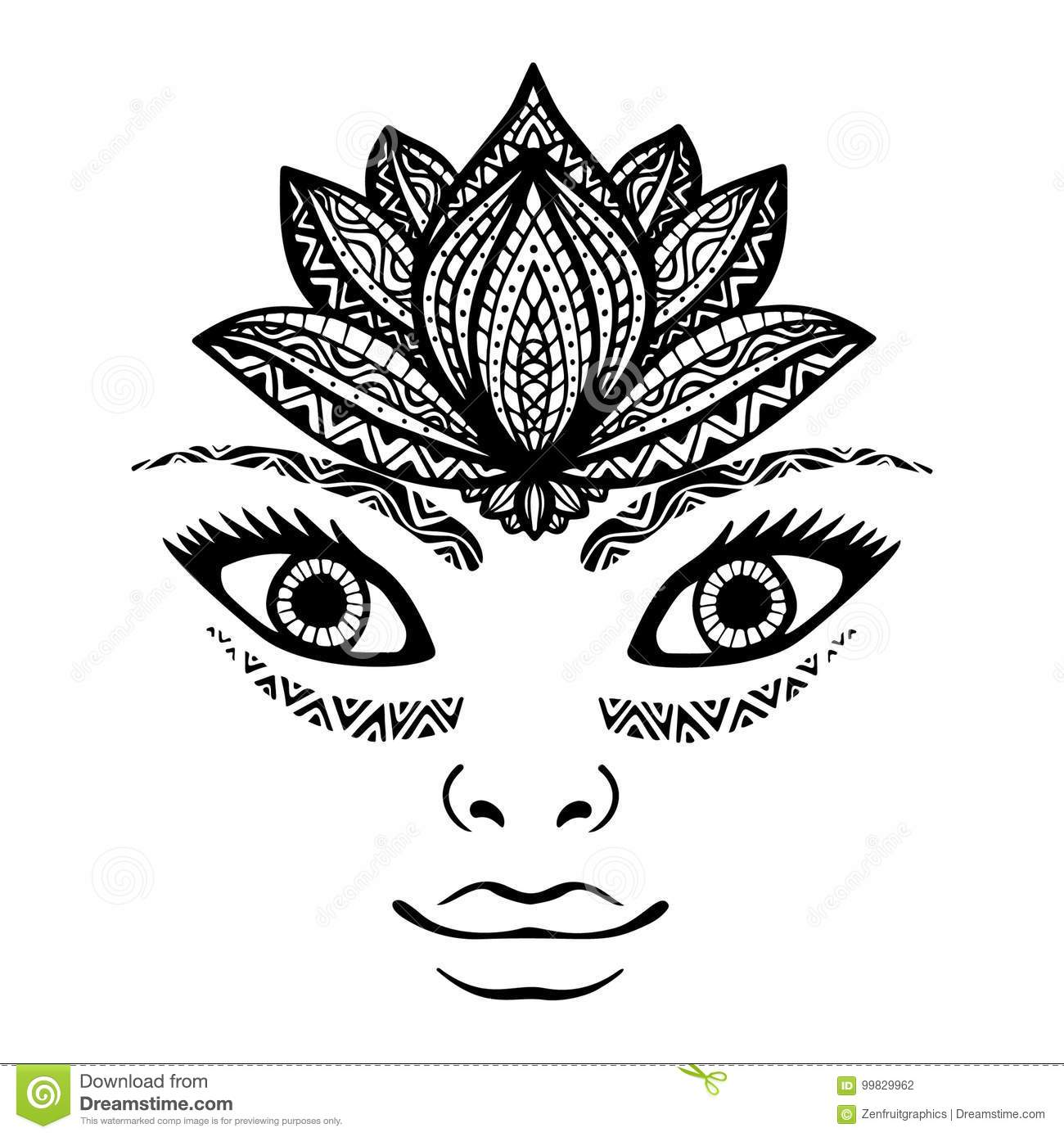 a5d91bae8418f Portrait of beautiful woman face, pretty girl face tattoo with lotus flower  crown as headpiece