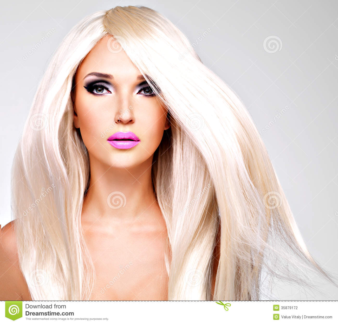 Lipstick Pretty Girl Faces: Portrait Of A Beautiful Woman With Long White Straight