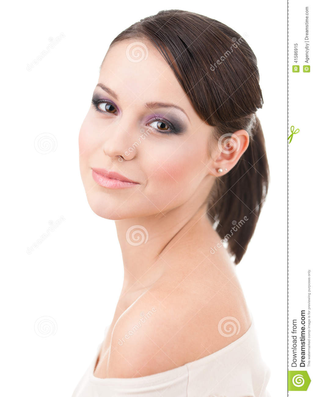 Portrait of beautiful woman with makeup