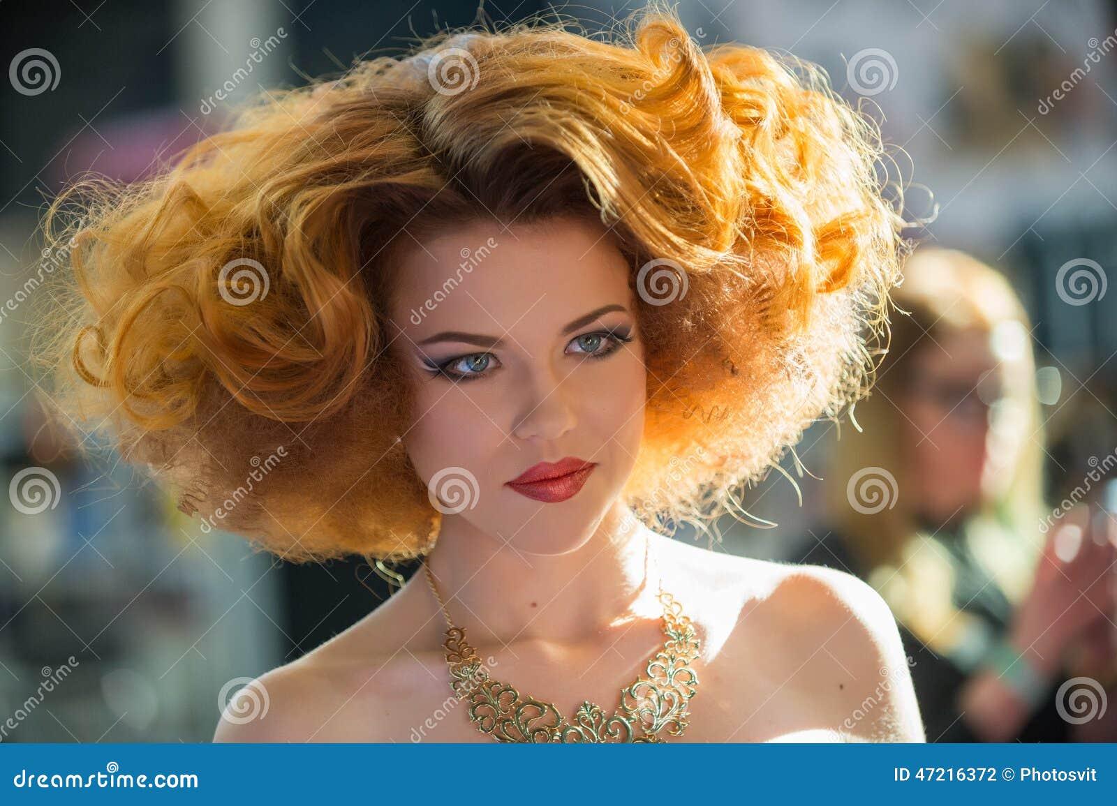 Beautiful Woman With Haircut And Makeup Cartoon Vector 91586317