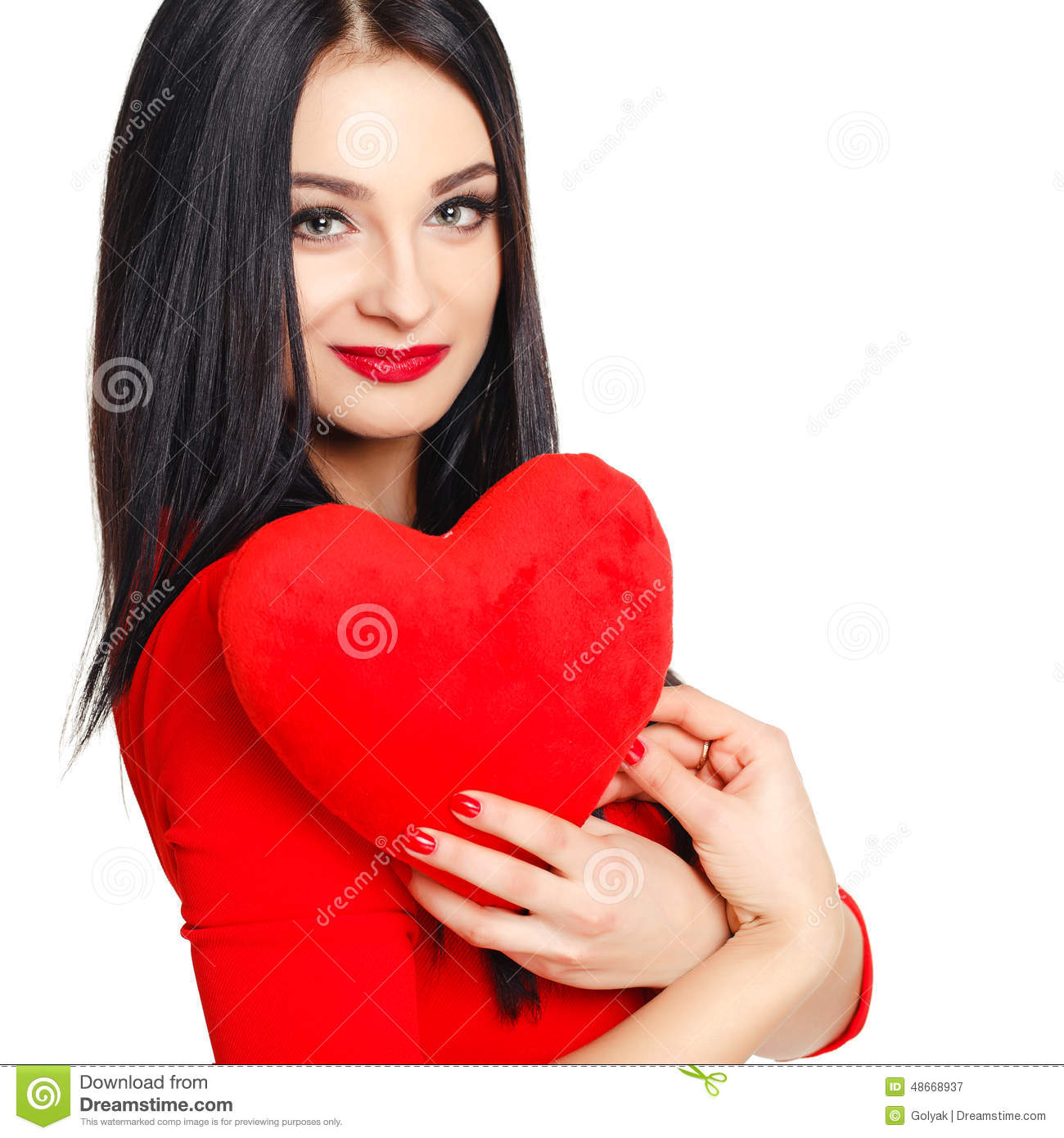 b6fa191395a Portrait Of A Beautiful Woman With Red Heart In Hands. Stock Image ...