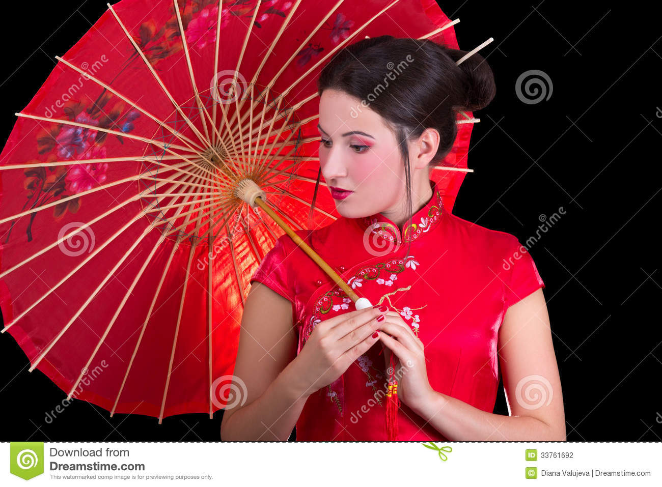 Portrait Of Beautiful Woman In Red Japanese Dress With