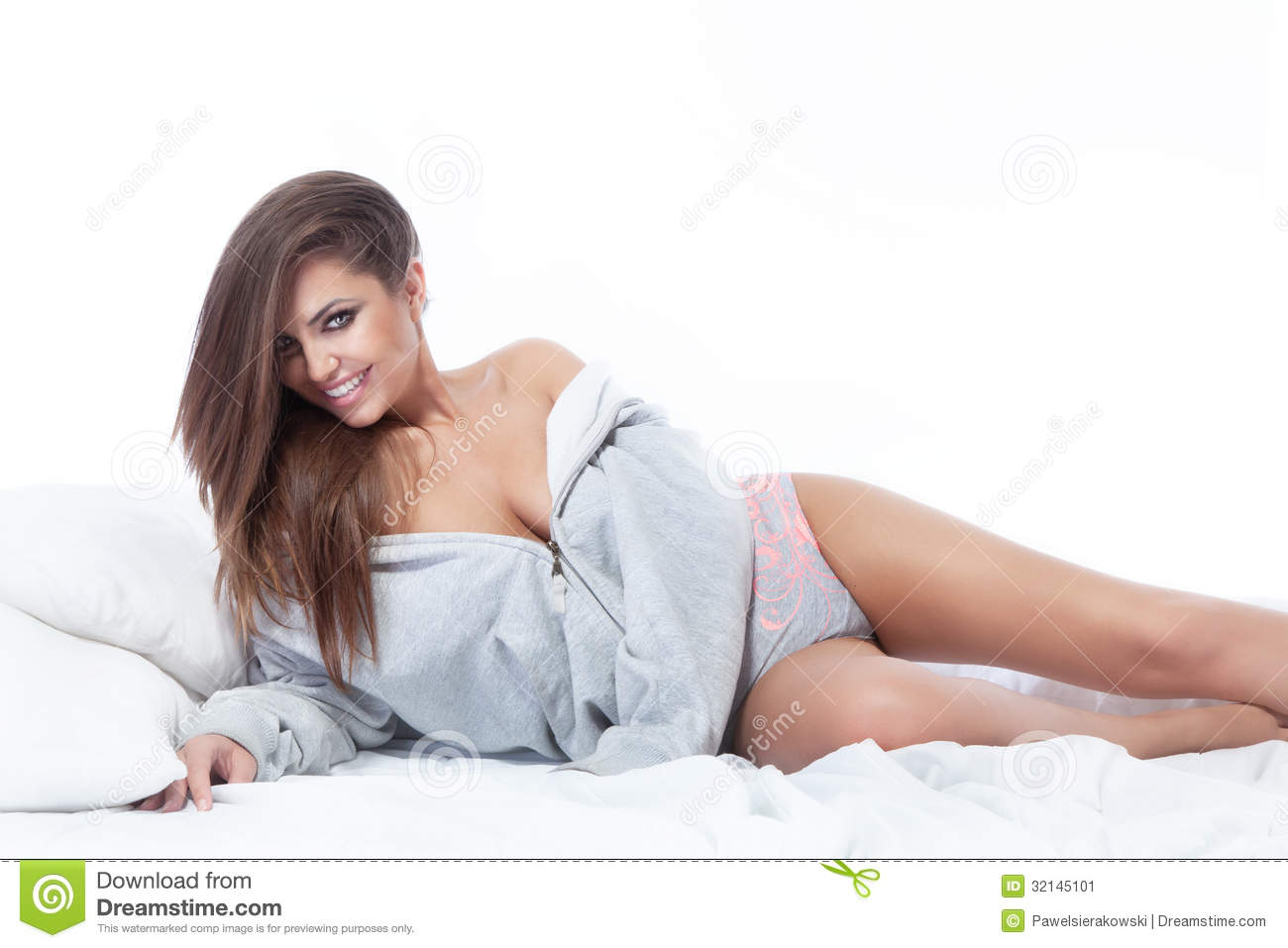 portrait of beautiful woman relaxing on bed stock image image 32145101. Black Bedroom Furniture Sets. Home Design Ideas