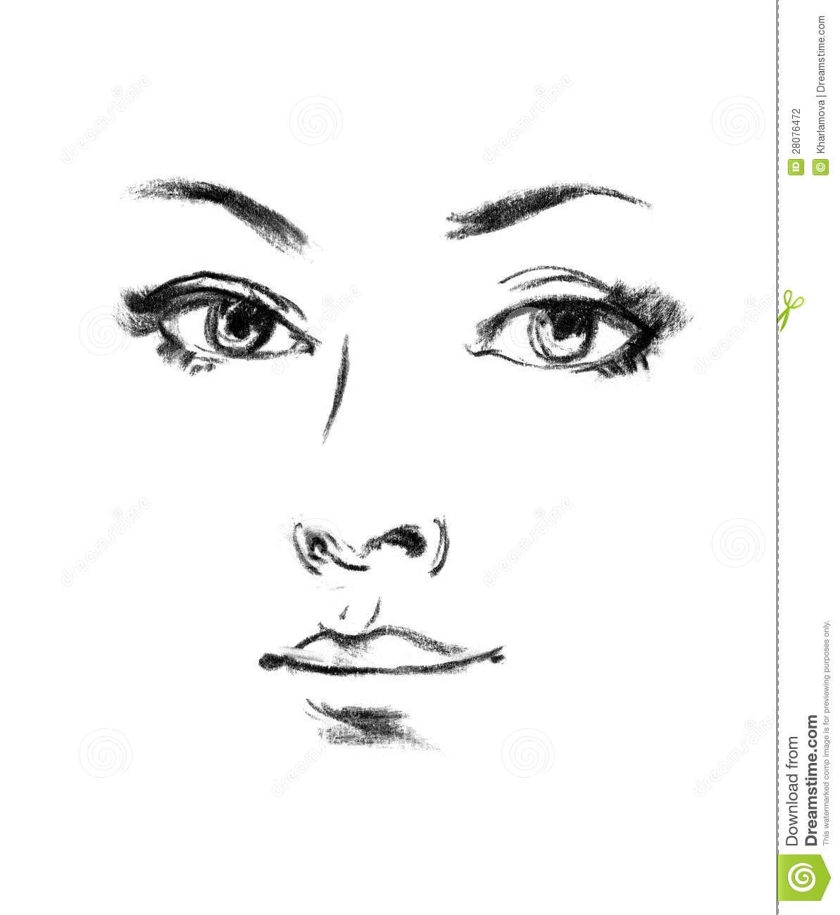 Portrait Of Beautiful Woman, Sketch Stock Photography ...