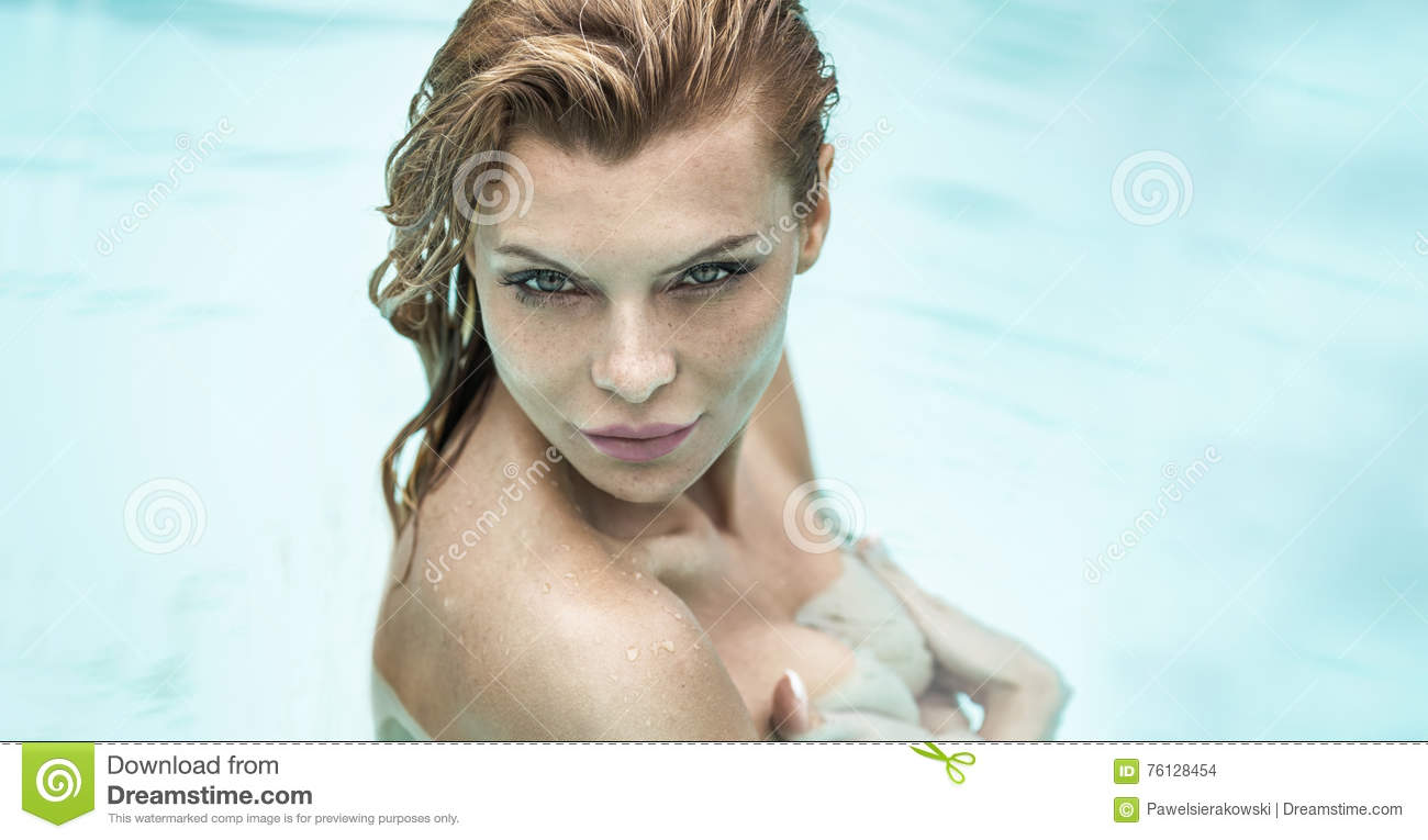 Portrait Of Beautiful Woman Under Shower