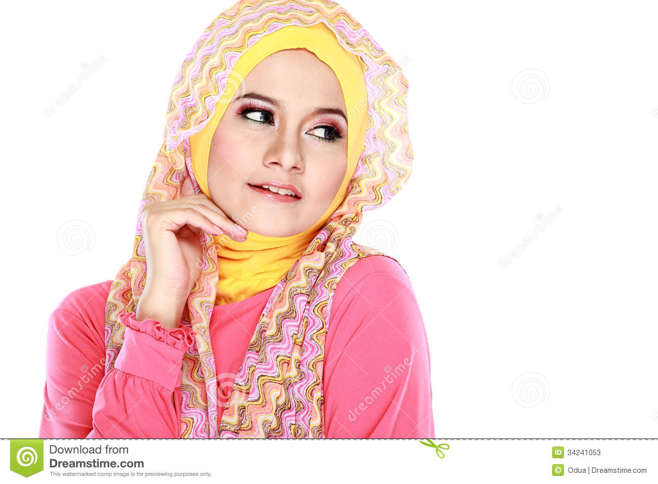 http://thumbs.dreamstime.com/z/portrait-beautiful-woman-wearing-hijab-fashion-young-muslim-pink-costume-isolated-white-background-34241053.jpg