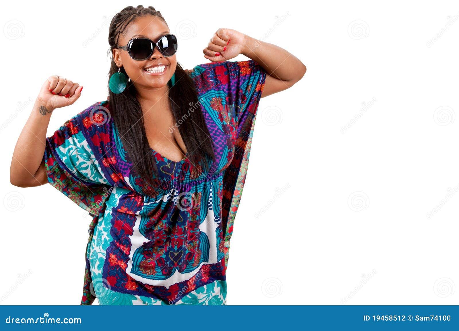 Portrait Of Beautiful Young Black Woman Dancing Stock