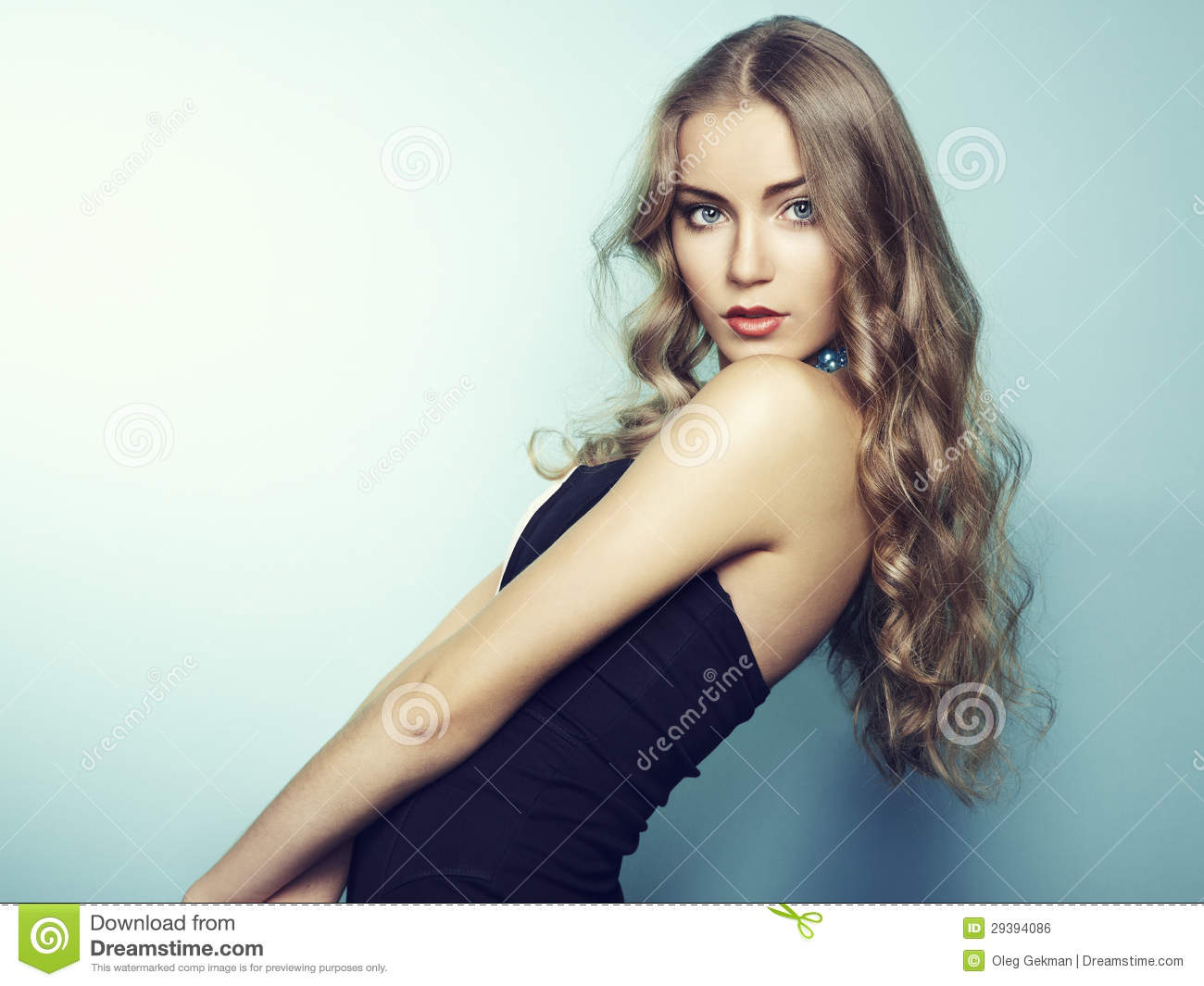Download Portrait Of Beautiful Young Blonde Girl In Black Dress Stock Photo - Image of glamour, lifestyle: 29394086