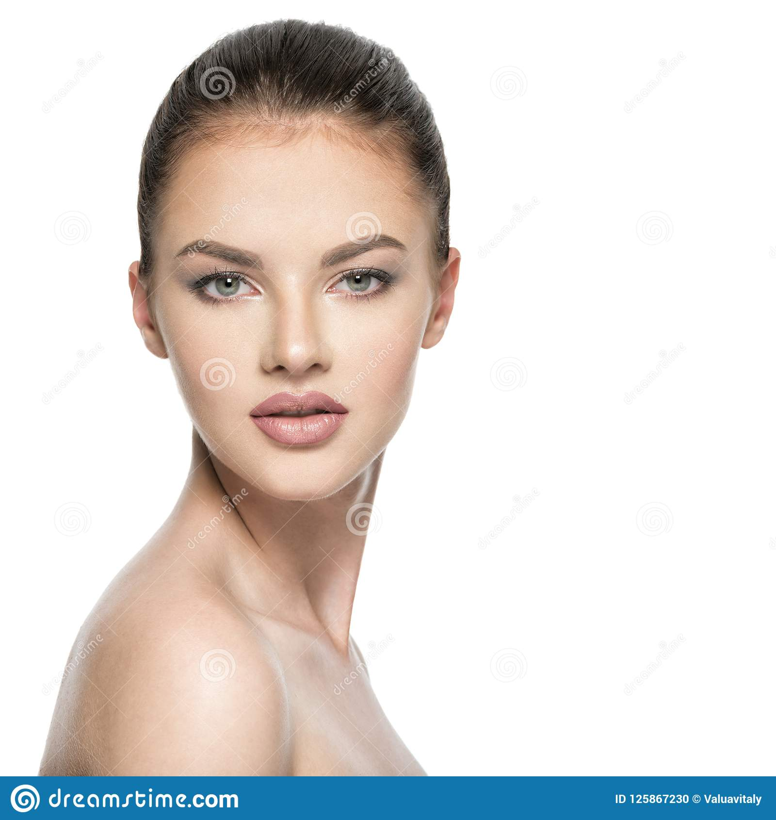 Portrait of beautiful young brunette woman with beauty face.