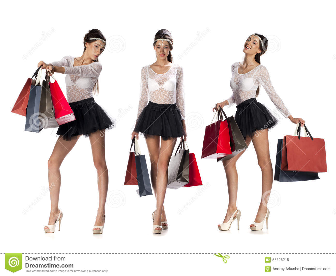 Portrait Of A Beautiful Young Brunette Women Posing With Shoppin Stock Photo - Image -3785