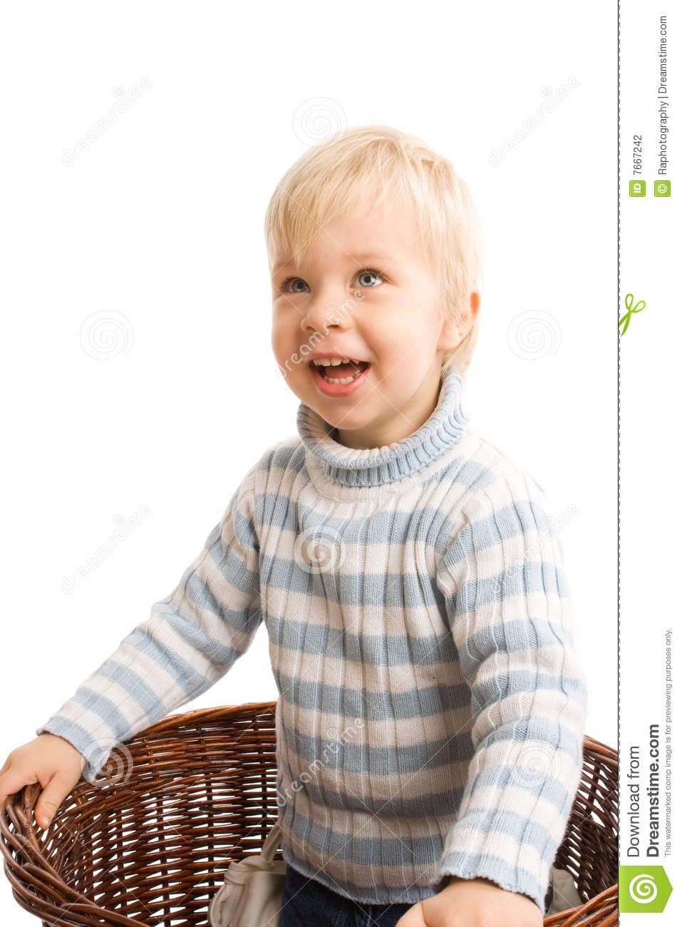 Baby Boy Wearing Glasses With A Clever Look. Stock Photo