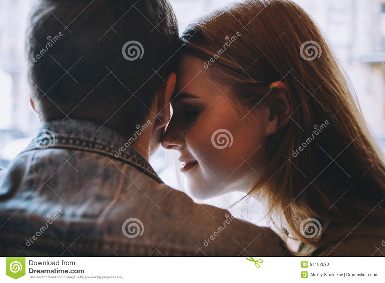 Portrait Of Beautiful Young Couple In Love At A Coffee Shop. Stock Photo - Image of flirting ...