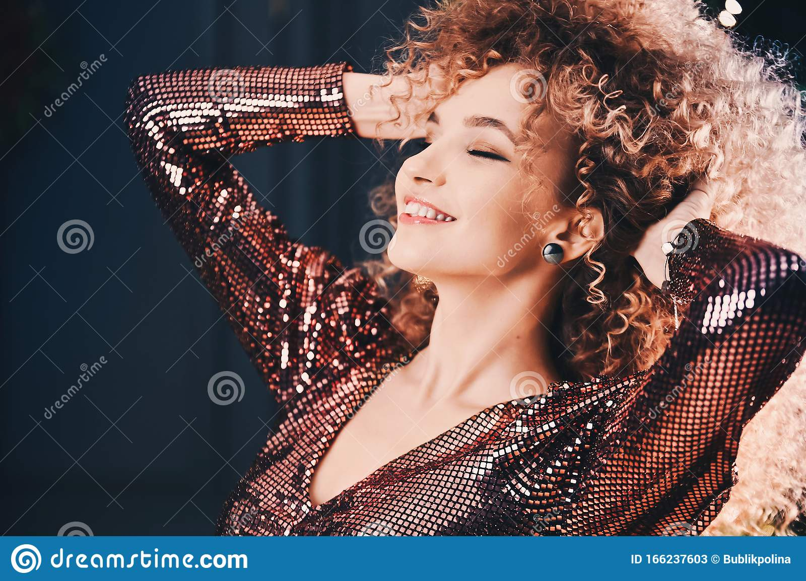 Beautiful Young Curly Girl On Background Merry Christmas ...