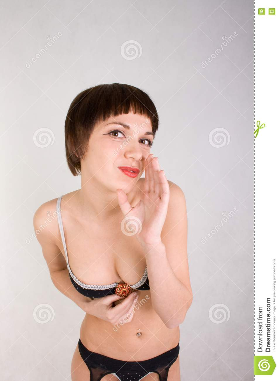 Portrait Of A Beautiful Young Girl Who Looks In Th Stock