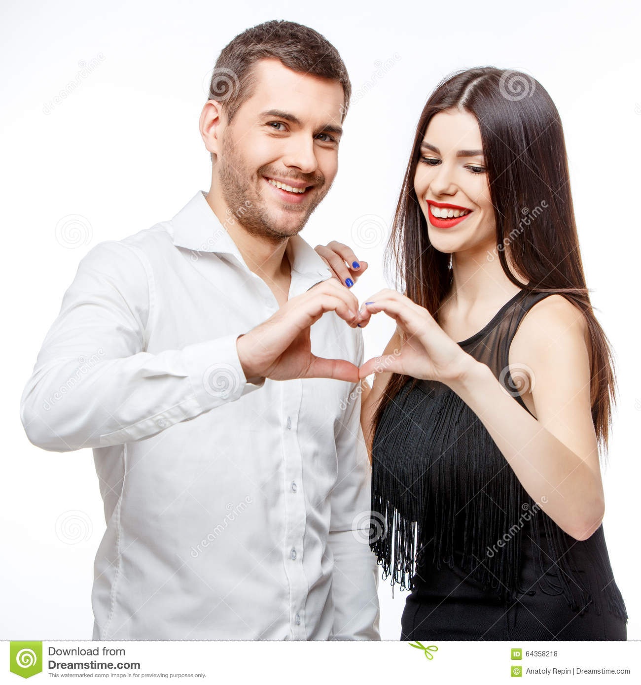 Portrait of a beautiful young happy smiling couple