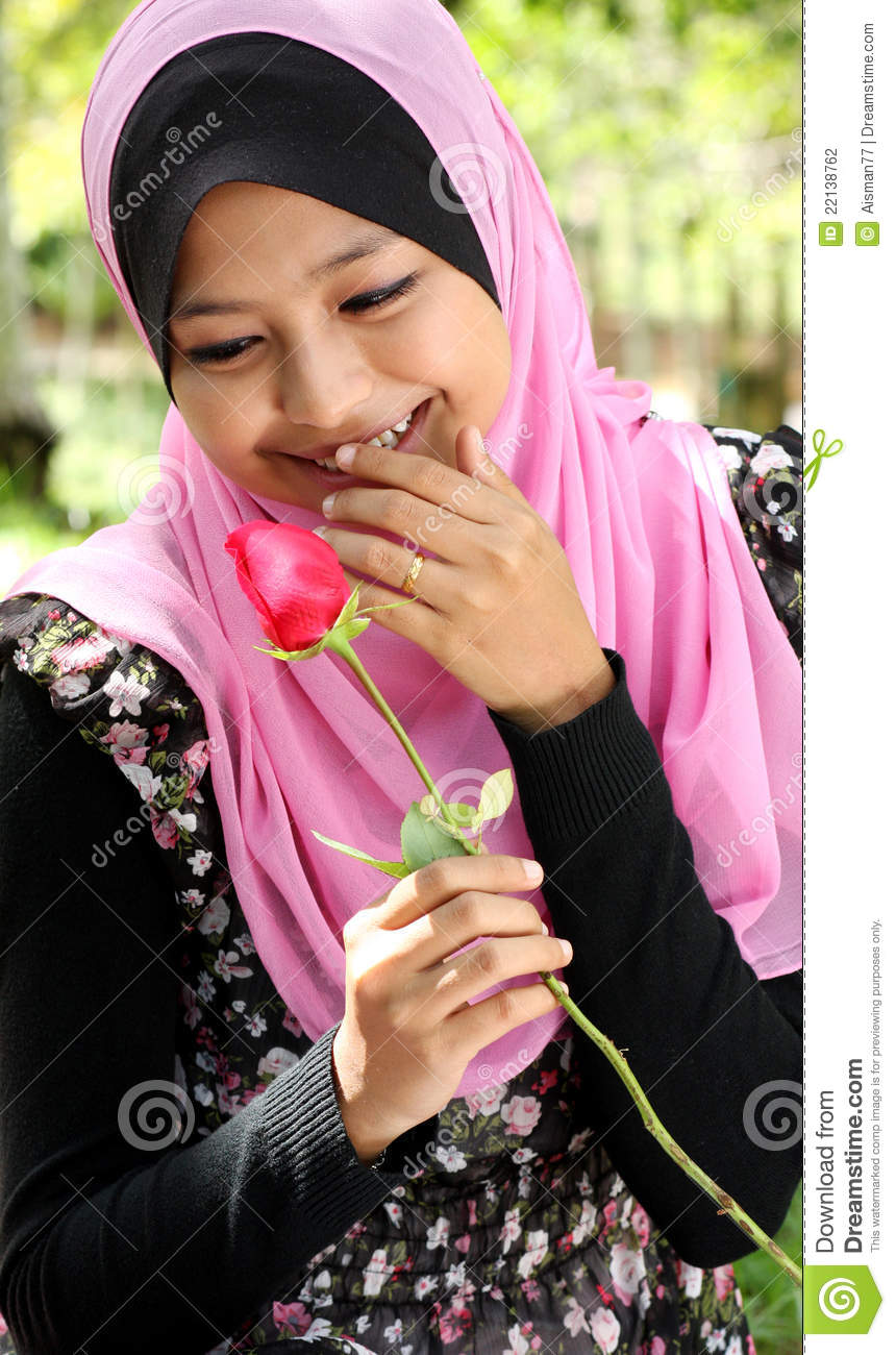 Portrait Beautiful Young Muslim Girl Holding Red Rose Flower