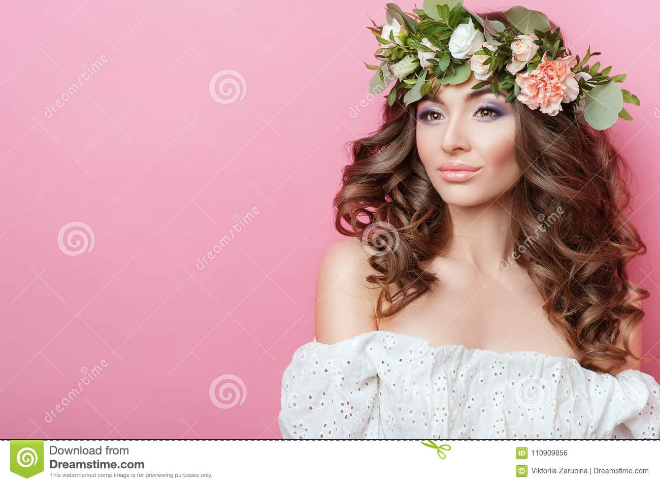 Portrait of beautiful young sexual sensual woman with perfect skin portrait of beautiful young sexual sensual woman with perfect skin make up curly hair and flowers on head on pink background wrea stock photo image of izmirmasajfo