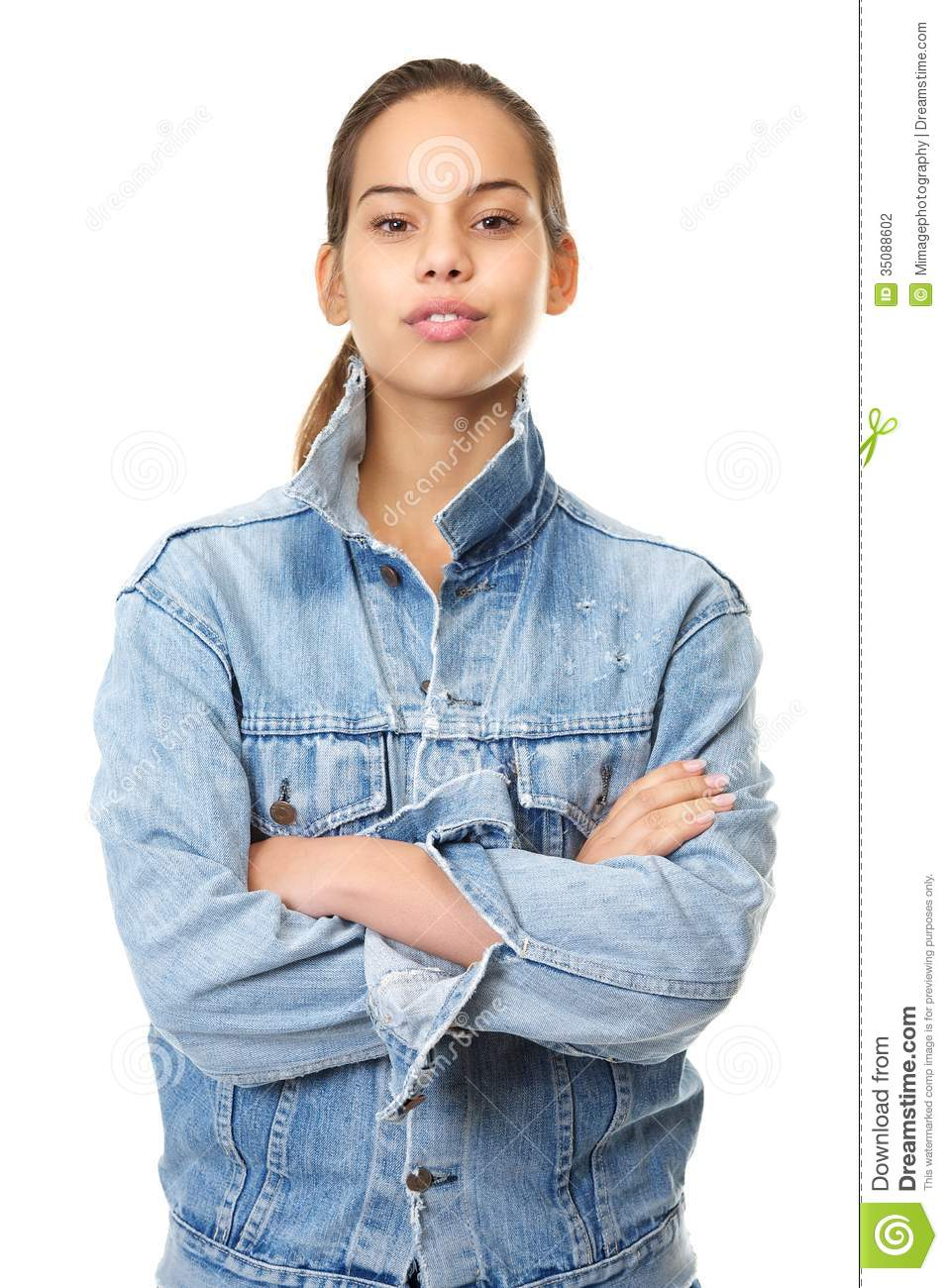 Portrait Of A Beautiful Young Woman In Denim Jacke Stock ... Denim Jacket Photography