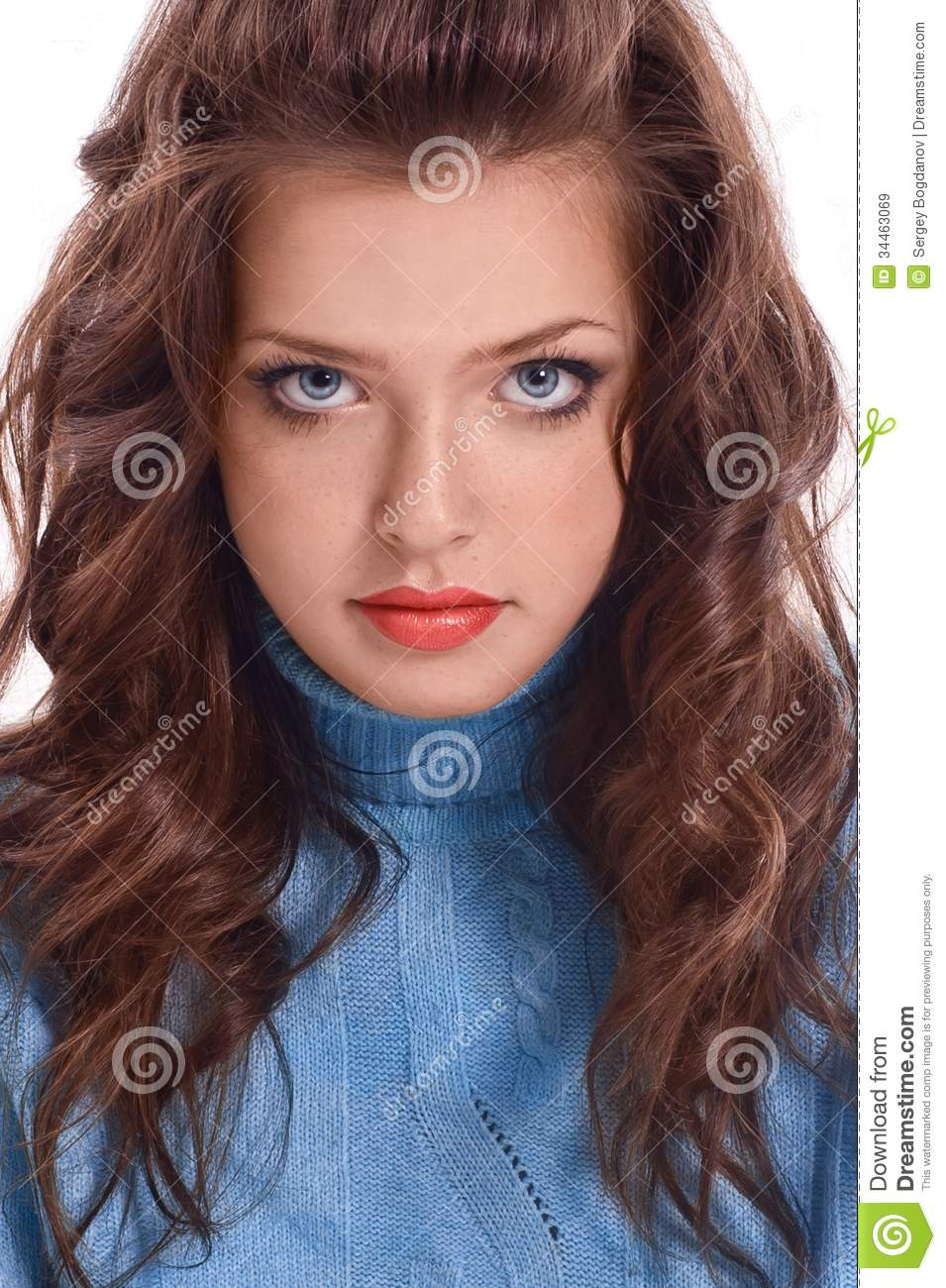 Portrait Of Beautiful Young Woman With Long Brown Hair ...