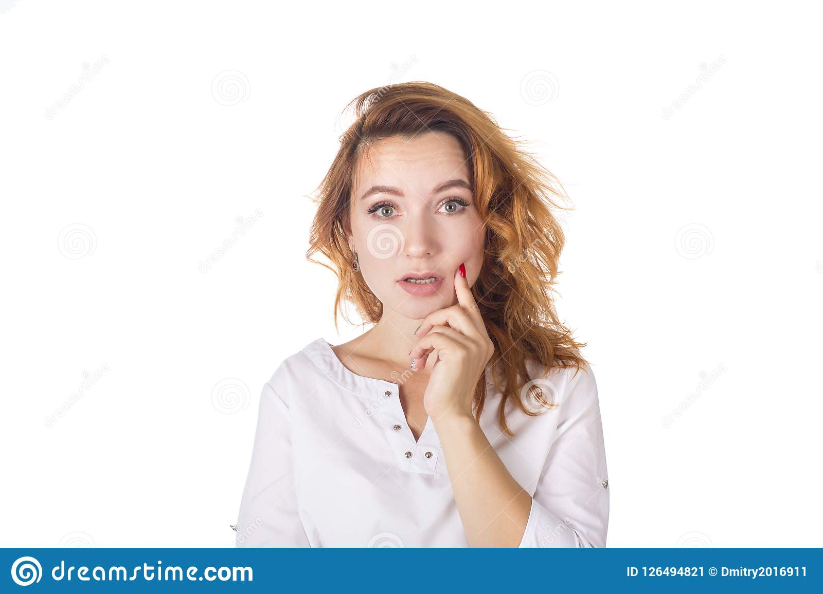 Portrait of a beautiful young woman thinking, isolated on white background