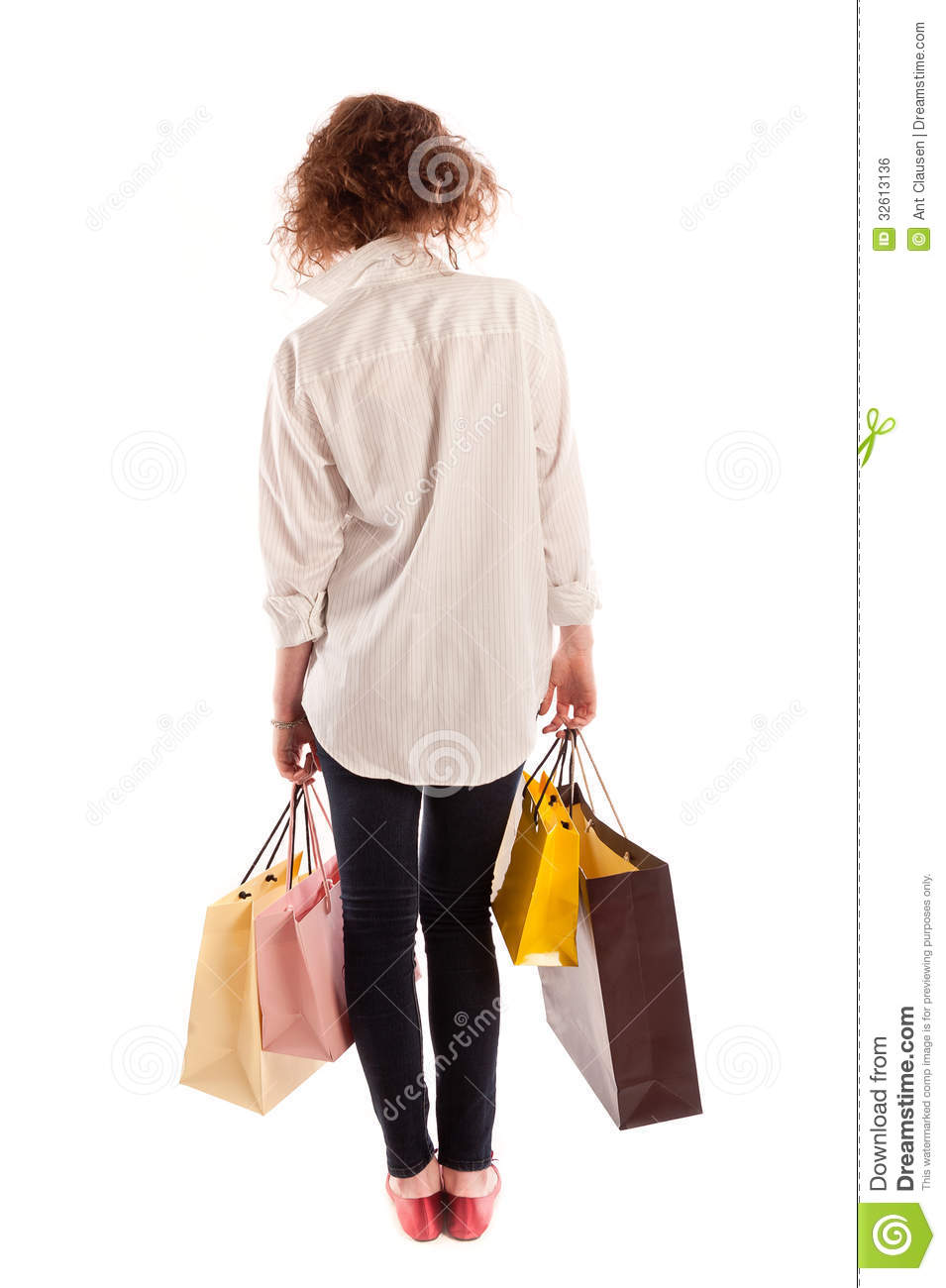 ... Walking Away With Shopping Royalty Free Stock Image - Image: 32613136