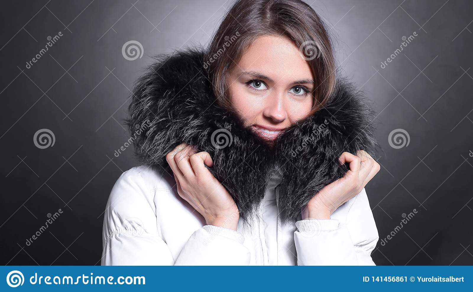 5ec1f264f6857 Portrait Of Beautiful Young Woman In Winter Jacket Stock Image ...
