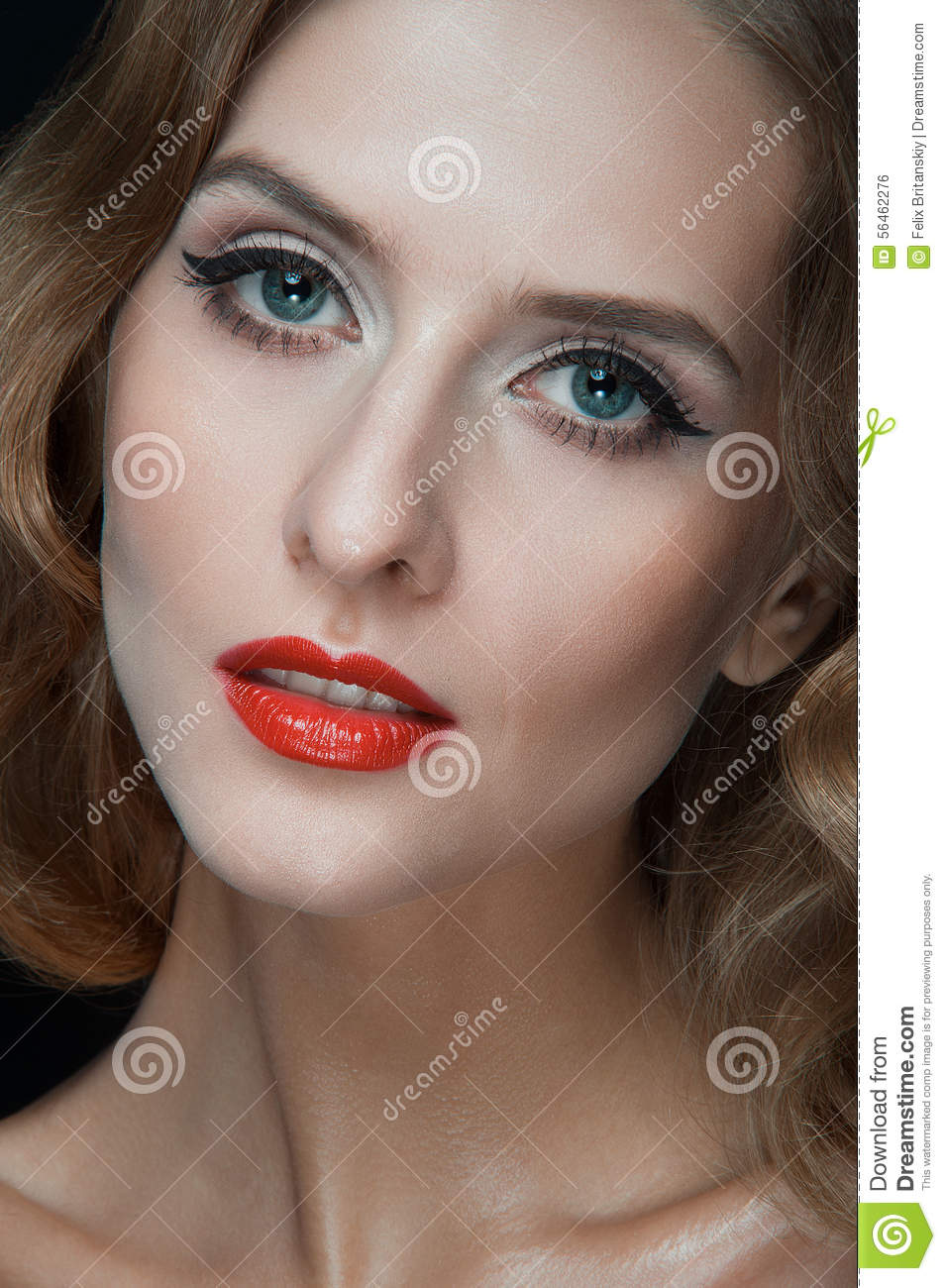 Portrait Of Beautiful Young Women With Red Lips Stock Photo Image