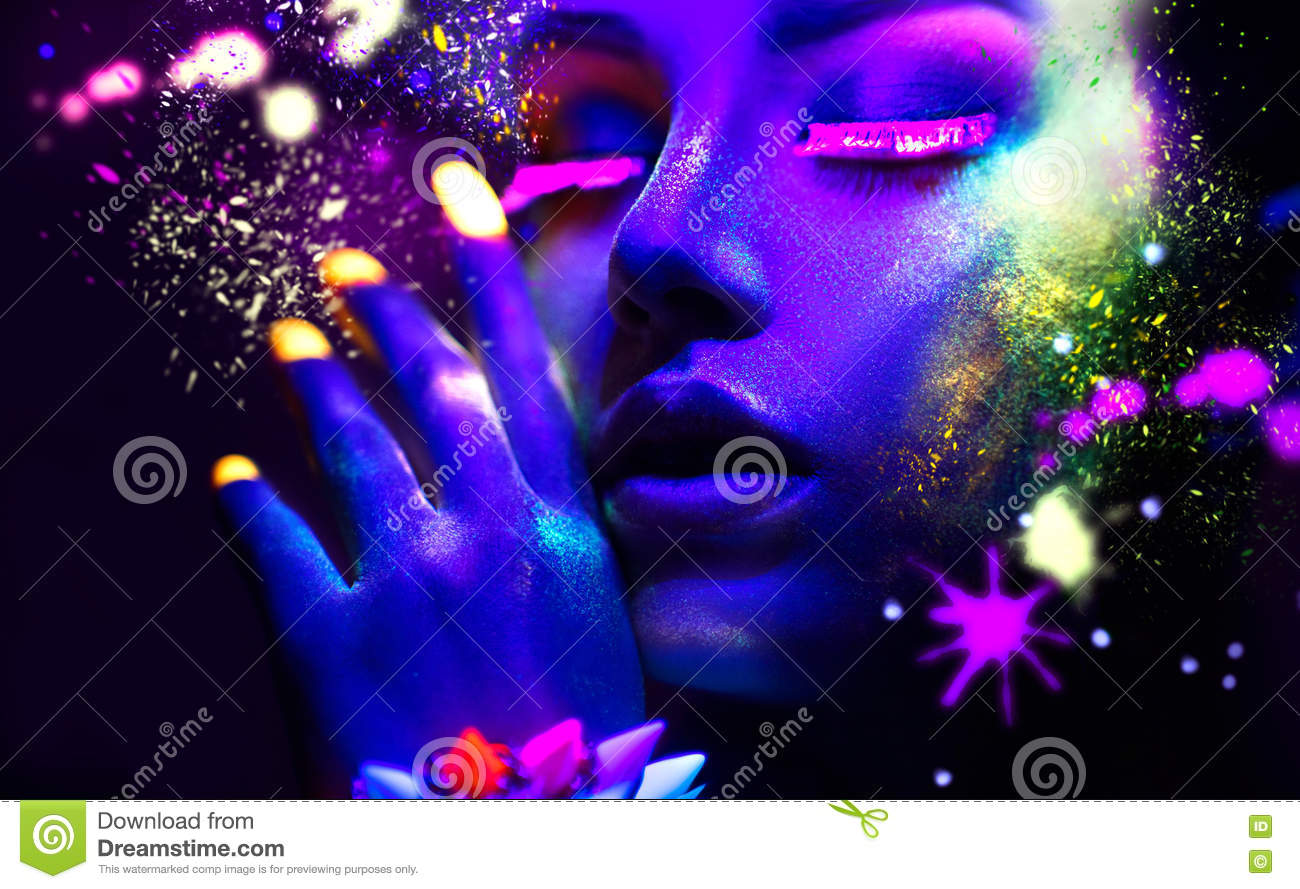 Portrait Of Beauty Fashion Woman In Neon Light Stock Image Image