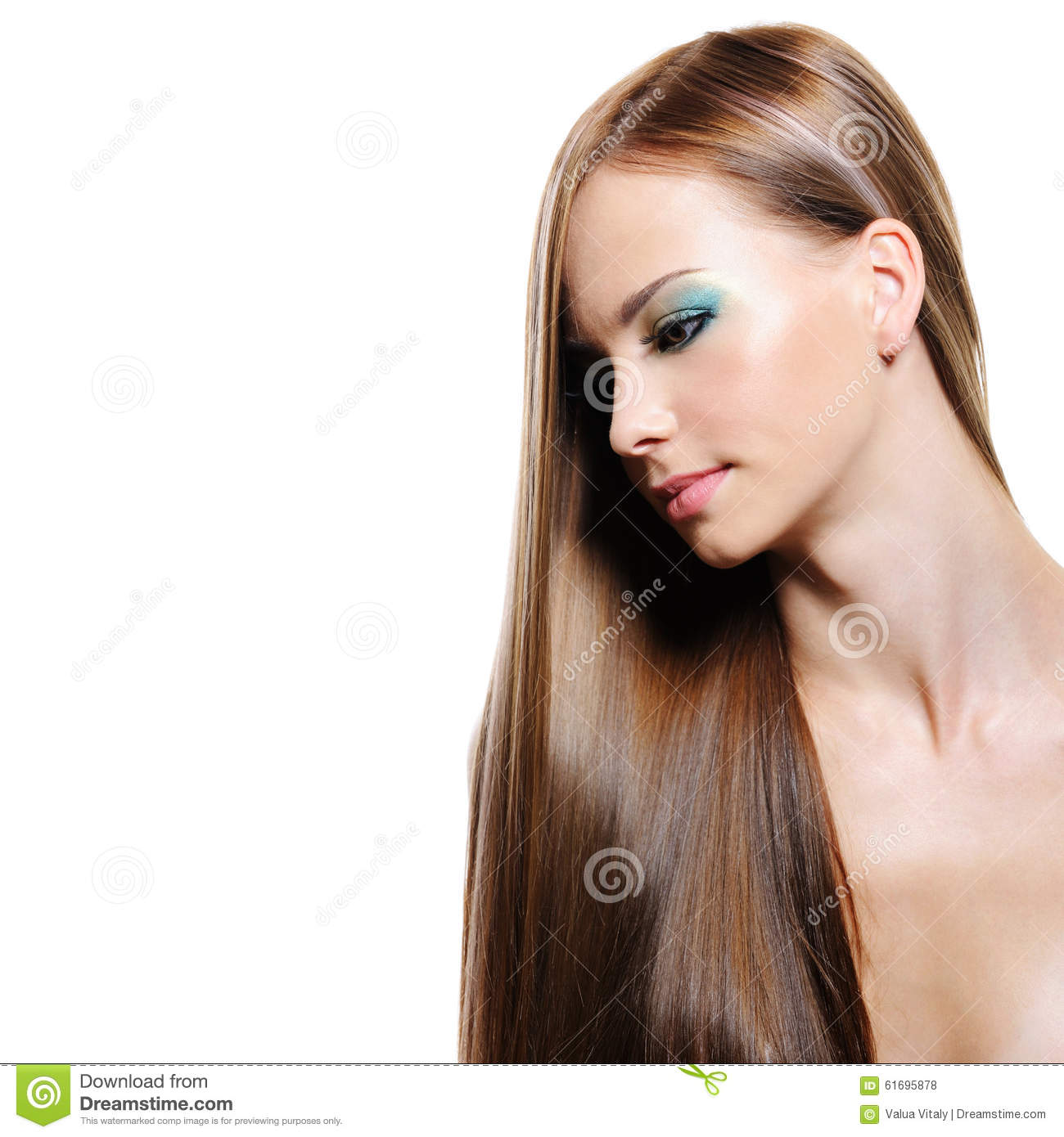 Portrait of beauty long hair of young woman