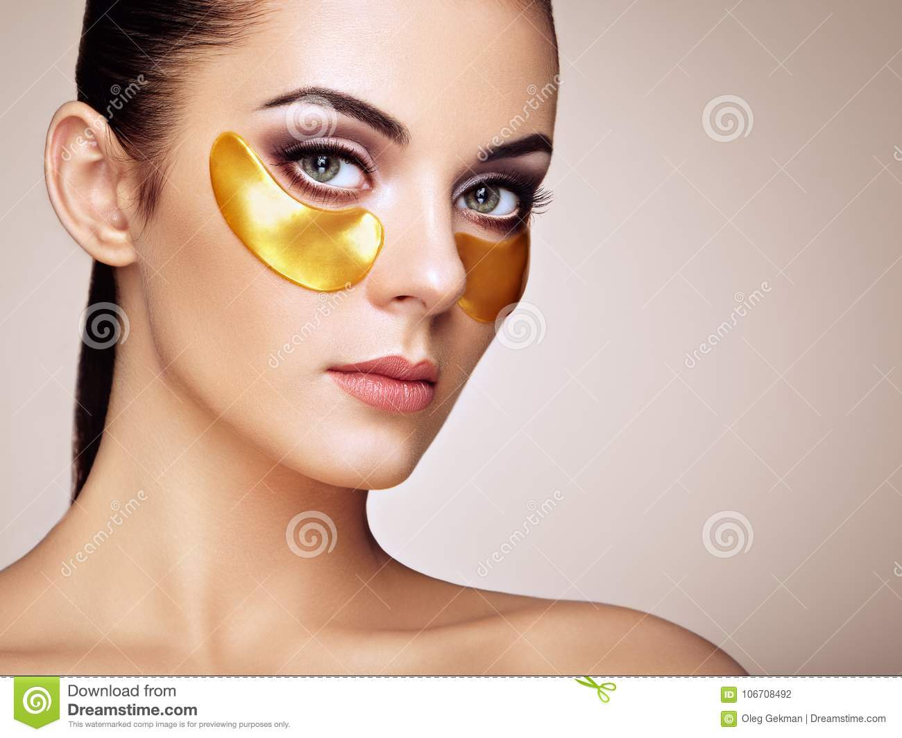 Portrait Of Beauty Woman With Eye Patches Stock Photo Image Of