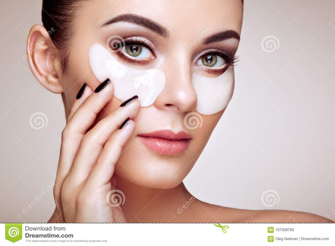 Portrait Of Beauty Woman With Eye Patches Stock Image Image Of
