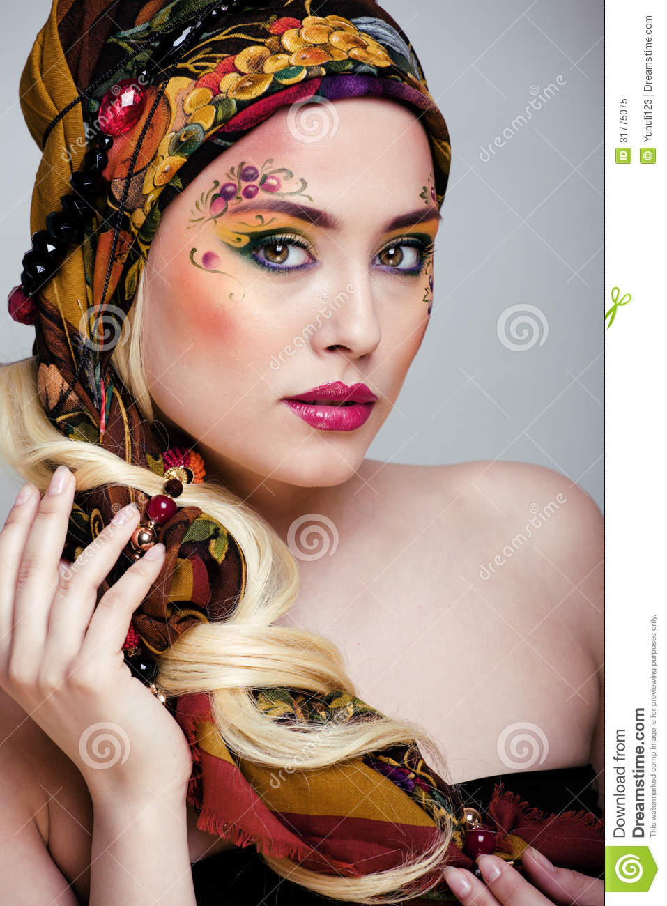 Portrait Of Beauty Woman With Face Art Royalty Free Stock Photo ...