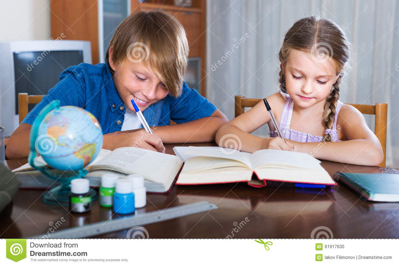 write a dialogue of brother and sister on homework