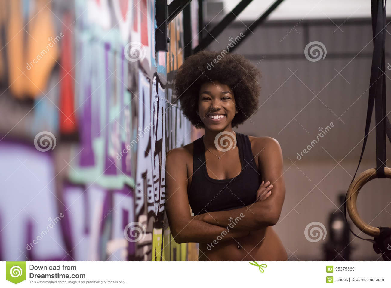 Download Portrait Of Black Women After Workout Dipping Exercise Stock Image - Image of lifestyle, endurance: 95375569