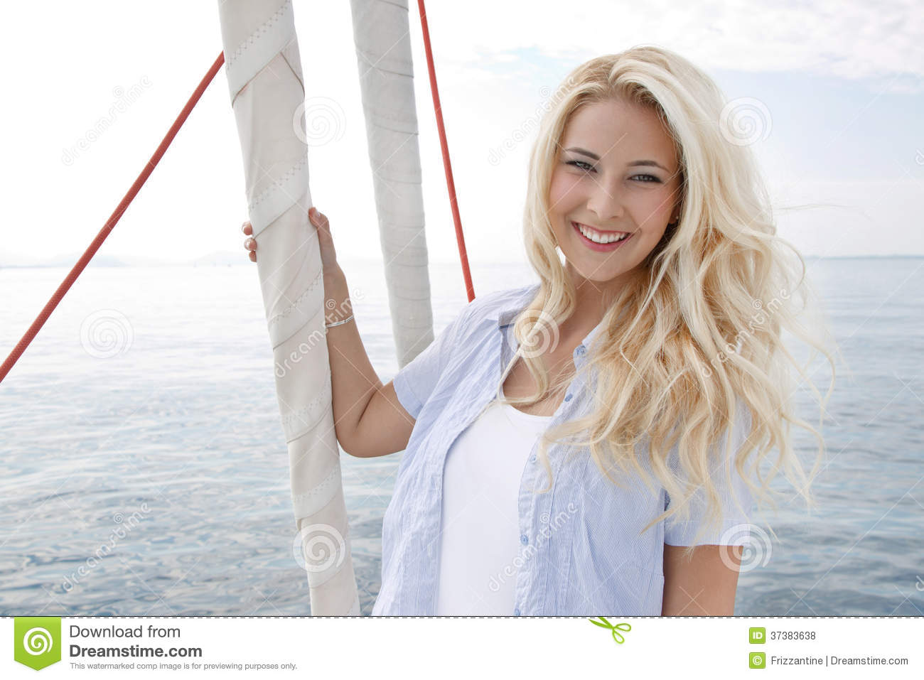 Portrait Of Blond Beautiful Young Woman On Sailing Boat. Royalty Free Stock Photos - Image: 37383638