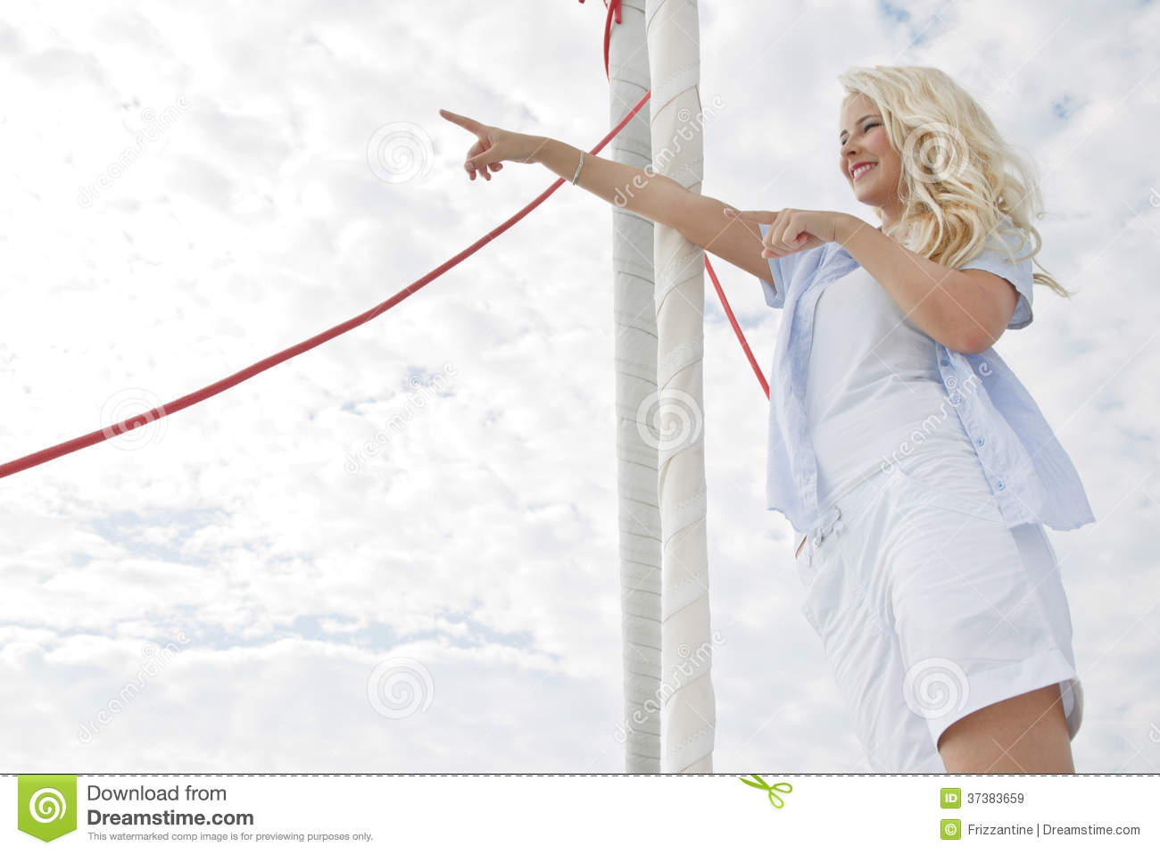 Portrait Of Blond Beautiful Young Woman On Sailing Boat. Royalty Free Stock Images - Image: 37383659
