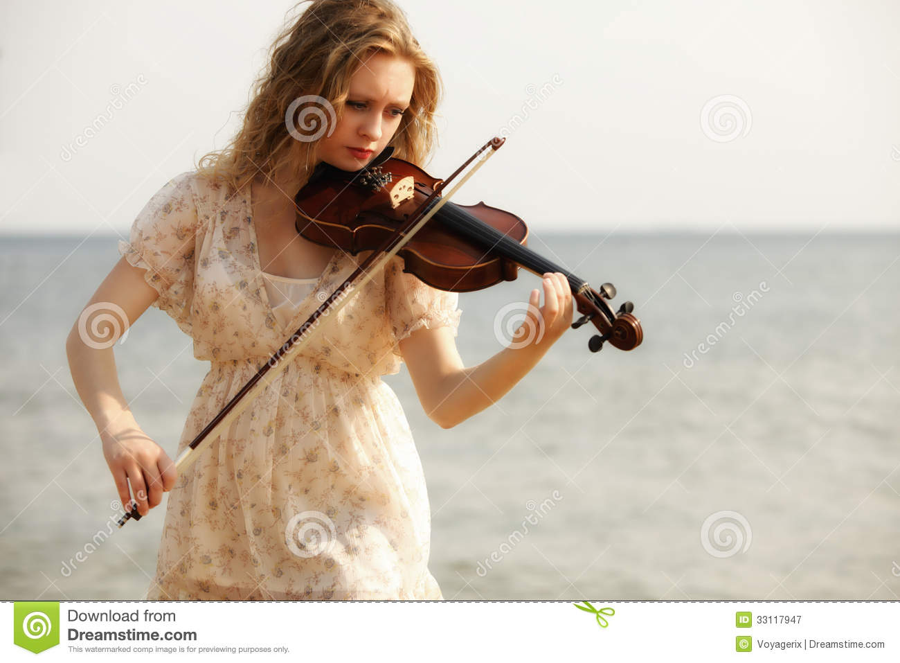 Portrait Blonde Girl With A Violin Outdoor Stock Image Image Of