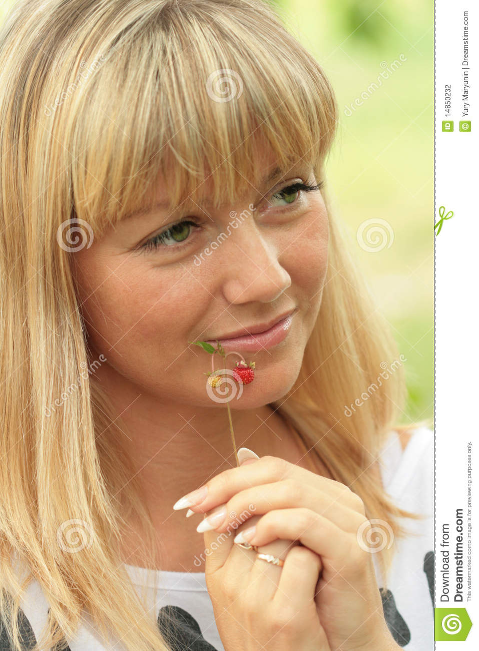 Portrait of the blonde with a sad smile