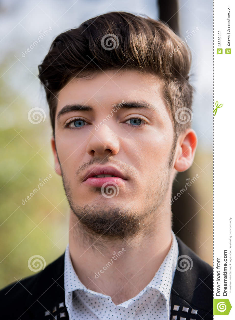 Portrait Of A Blue Eyed Man Stock Photo Image Of Attractive