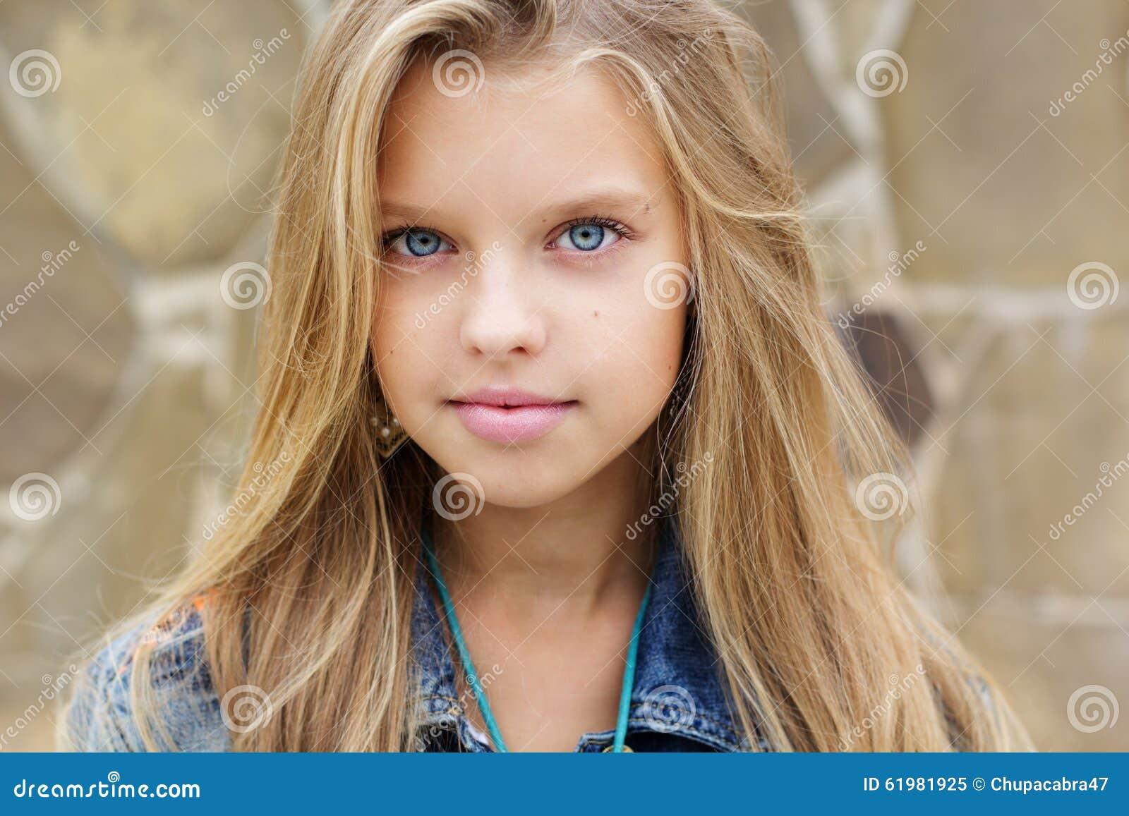 Portrait Of Blueeyed Pretty Blonde Girl Stock Image
