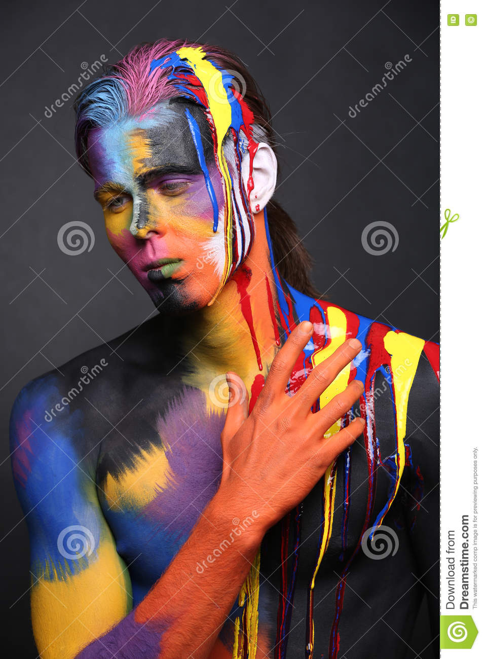 Portrait Body Art Of A Man Painted With Holi Colors Stock Photo Image Of Muscular Holi 73706602