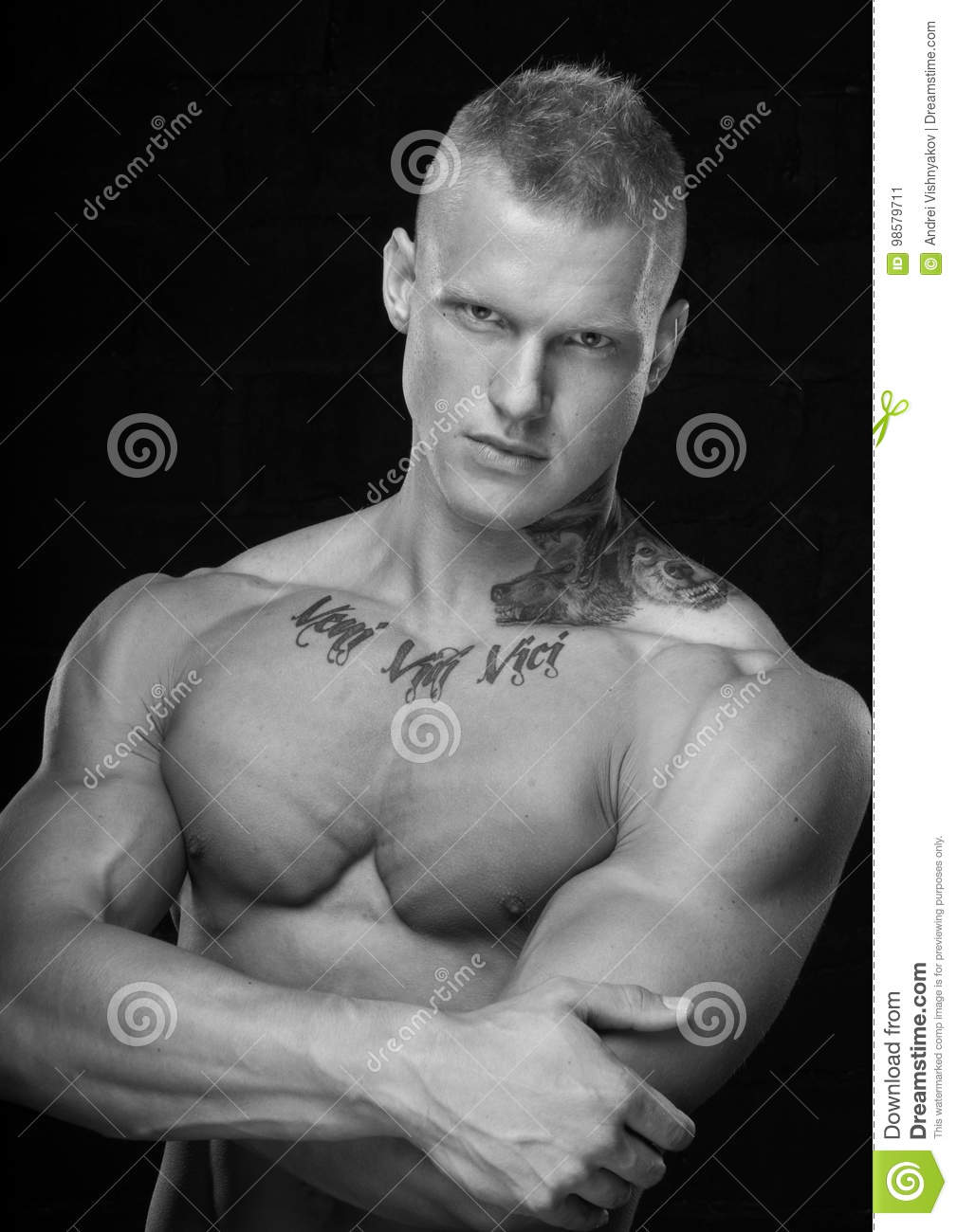 Portrait Of Young Shirtless Athletic Man Stock Photo