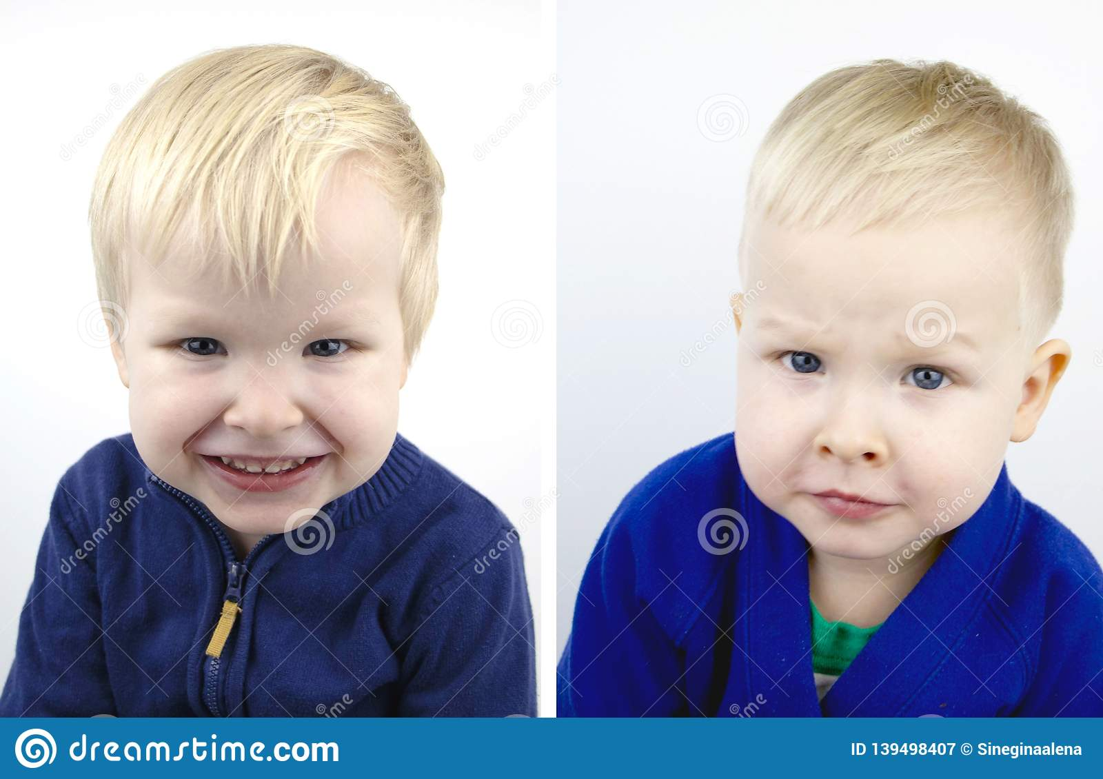 Portrait Of A Boy Before And After The Haircut Child After Visiting