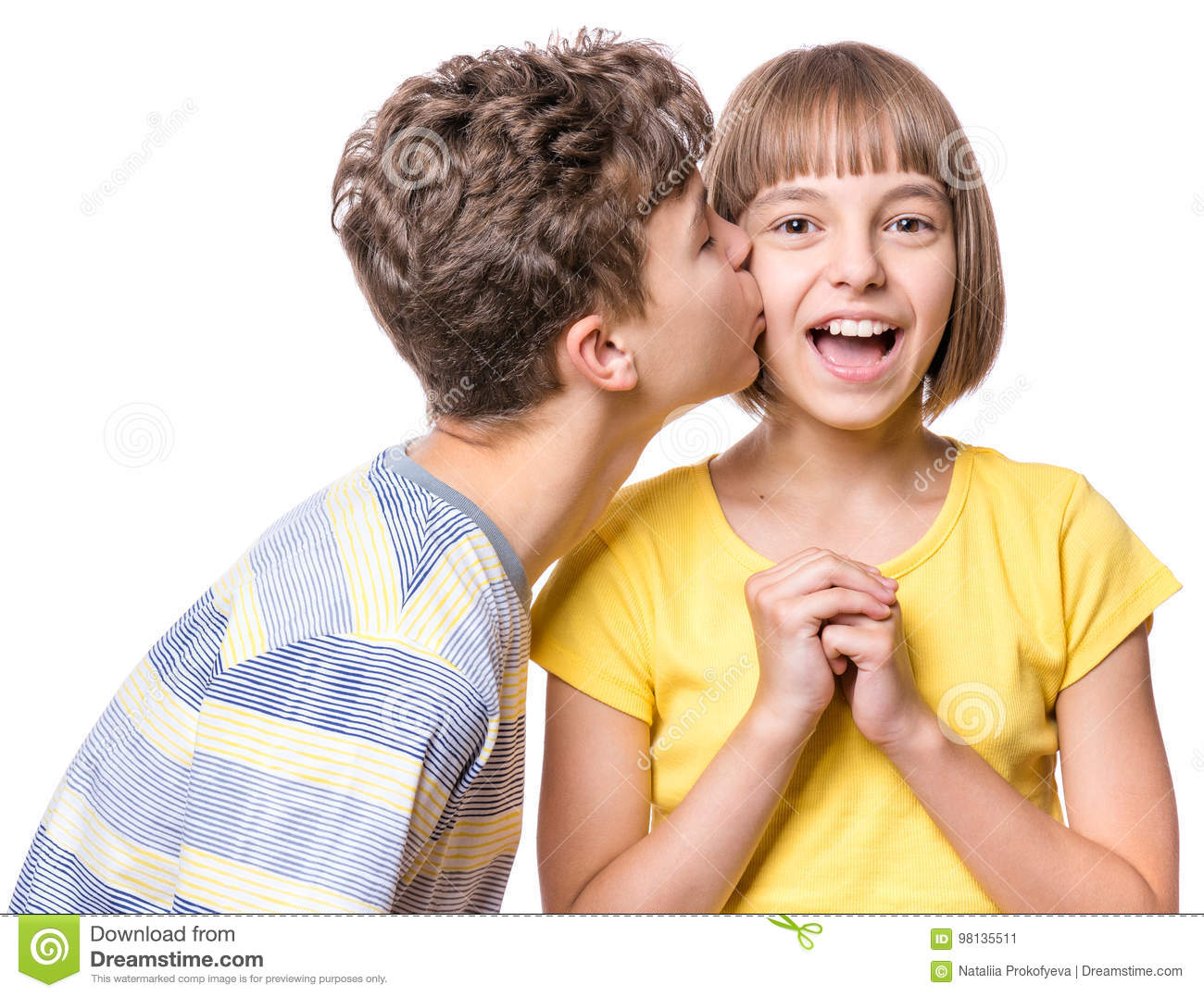 Friendship Teen Boy Kissing Beautiful Girl Portrait Of Happy Brother And Sister Isolated On White Background Funny Couple Children First Love