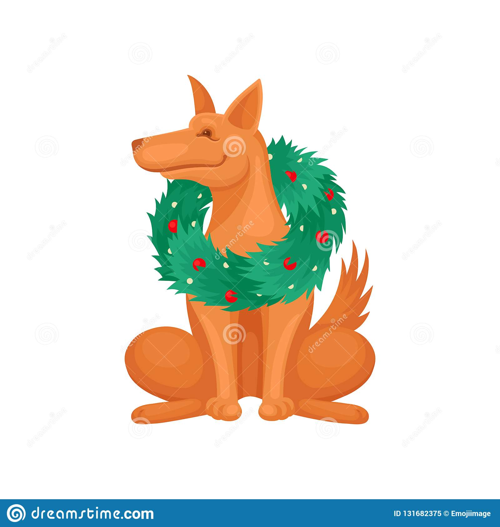 Portrait of brown dog wearing green Christmas wreath. Happy home pet. Flat vector design