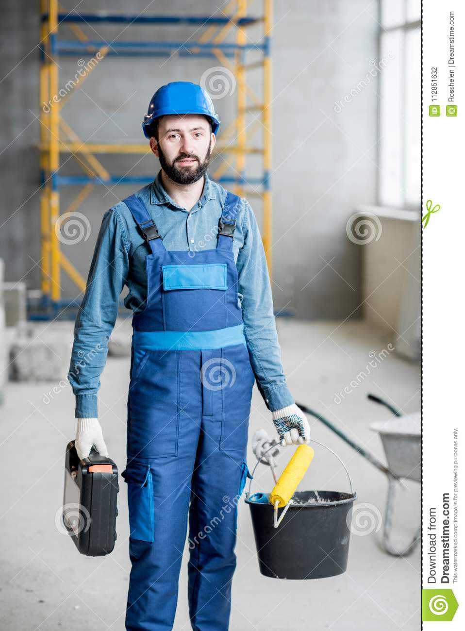 Builder at the construction site